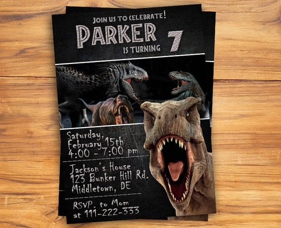 Jurassic World Invitation Jurassic World Birthday Invitation