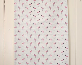 Flamingos on Blue (Tea Towel) by littlearrowdesigncompany