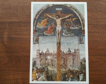 The Crucifixion Unused Postcard Donato Montorfano Fine Art Painting Vintage 1970s Christ Death Long Suffering Patient Religious Card