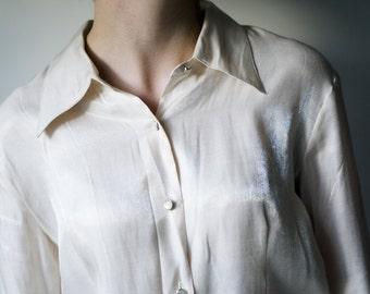 70s Iridescent Blouse / Vintage Blouse / Iridescent Blouse / Vintage Button up Blouse / Vintage Clothing / 70s Clothing / Women's Vintage