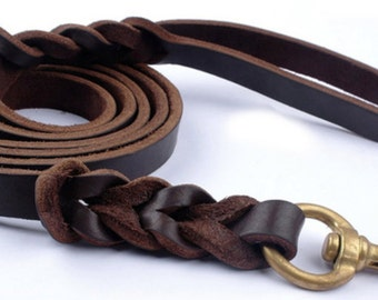 Leather leash for dogs with braided detail 1, 50 cm