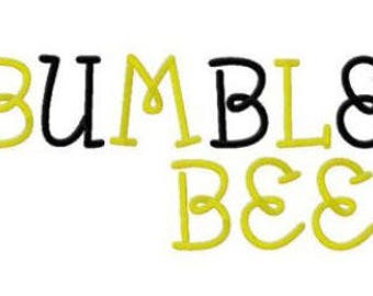 Bumble Bee Machine Embroidery Font Set Instant Digital download