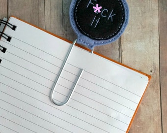 MATURE- F--- It Circle Planner Clip Bookmark, Black and Lavender Embroidered Wool Blend Felt, Extra Large Silver Paper Clip, Made in USA