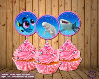 Cupcake Toppers.Cupcake Wrappers.Finding Dory.Dory Party Theme.Party Printable. DIY. Dory.Pink Party Decor.Finding Dory Party.Party Supplies