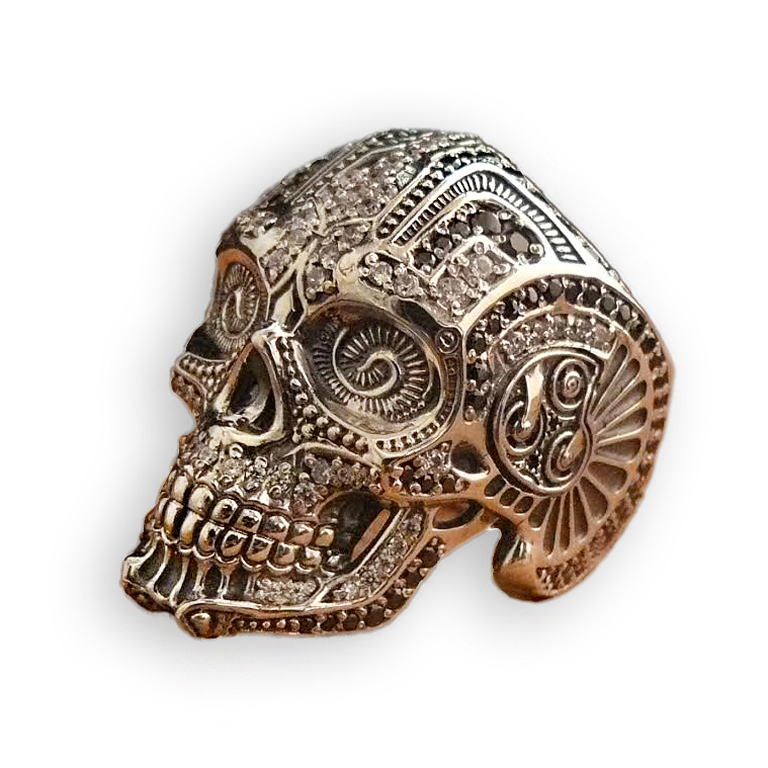 skull ring 925 sterling silver ring skeleton ring mens biker