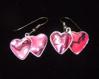 Vintage Overlapping Pink Hearts Earrings