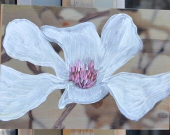 Tree in bloom, photography/painting on wood