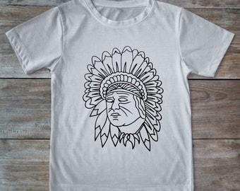 Indian shirt, native american shirt, feather shirt, tattoo shirt, classic tattoo art, old school shirt, hipster gift, gift for tattoo lovers