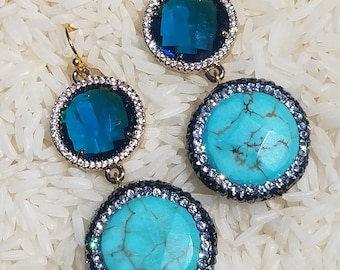 Turquoise and Blue Crystal Earrings/Free Shipping!