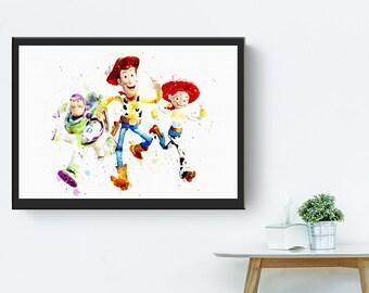Sale off  Fan art Toy story woody buzz light year jessie cowboy watercolor art print digital file
