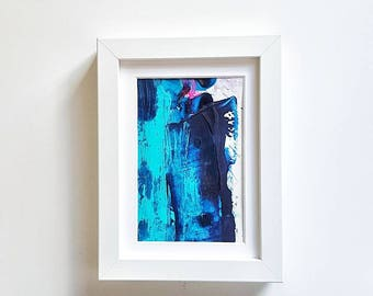 mini study// blues #1//abstract original artwork// teal,navy, midnight blue//modern home decor//pretty wall art//anniversary,birthday