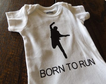 Born To Run Onesie Bodysuit One Piece Baby Shower Birthday Gift Rock Baby Music Lover Rock Band Bruce Springsteen The Boss Fan (#32)