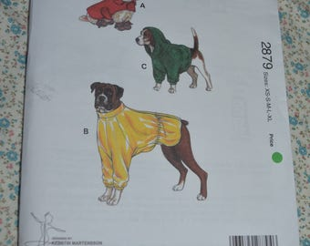Kwik Sew 2879 Dog Coats and Booties Sewing Pattern - UNCUT Size XS S M L XL