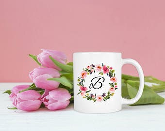 monogram mug personalized mug monogram initial bridesmaid gift teacher gift monogrammed mug floral coffee mug letter mug