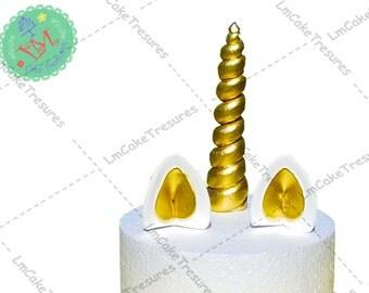 Fondant Unicorn horn, ears and eyelashes - Cake Topper - Birthday Cake