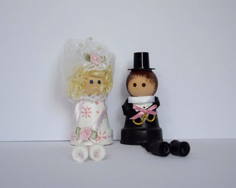 Painted Mini Terra cotta Pot Bride and Groom Wedding Cake Topper or Decorative #40