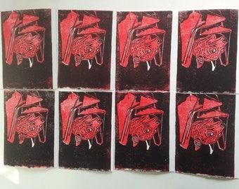 Lino printed cards, bat
