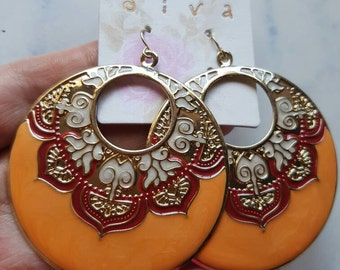 Gorgeous Indian Boho Style Hoop Earrings Orange with Embossed Red and White Inlay.