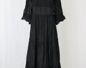 Vintage KARTA Black Tissue Cotton & Lace Tiered Gothic 3/4 Sleeve Maxi Regency Dress XS