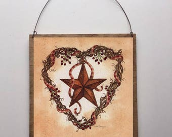8x8 Barn Star with Heart Wreath Home Decor Sign with Choice of Black Wire or Brown Ribbon for Easy Hanging