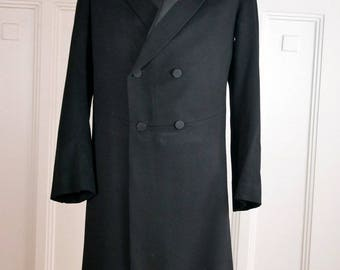 German Vintage Edwardian Frock Coat, Black Wool Double-Breasted Prince Albert Frock Coat, Teddy Boy Coat, Steampunk Coat: Size 36 US/UK