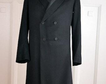 German Vintage Edwardian Frock Coat, Black Wool Double-Breasted Prince Albert Frock Coat, Teddy Boy Coat, Steampunk Coat: Size 36 US/UK