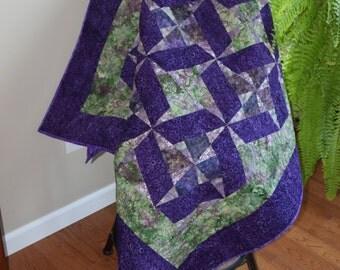 Lap Quilt, Throw Quilt, Batik, Purple & Green Quilt, Floral Quilt, Handmade