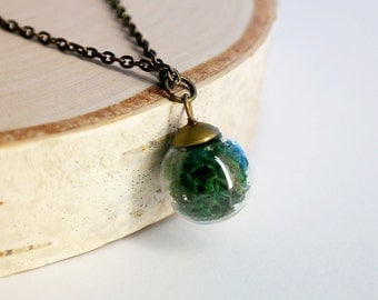 Moss Orb Necklace Copper  Pendant For Women/ Girls