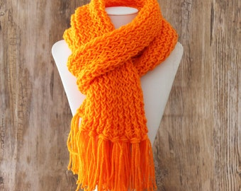 Knitted Con Amor - Bright Orange Hand Knitted Scarf - Knit Scarf, Wrap Scarf, Women's Scarf, Fringed Scarf, Handmade, OOAK (107)