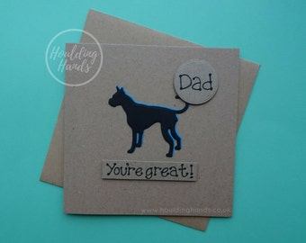 Great Dane card, Great Dane birthday card, Great Dane Father's Day card, Dog birthday card, Handmade card with a name, Anniversary card