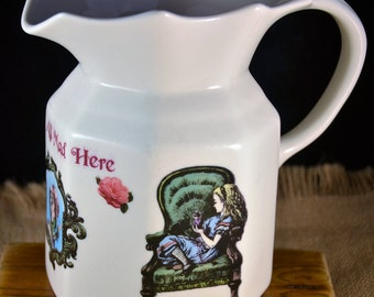 Victorian / Original Tenniel Drawing / Mad hatter Tea Party / Alice in Wonderland / Large Upcycled Jug