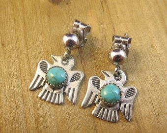 Vintage Turquoise Thunderbird Bird Earrings Sterling Silver 3.3 Grams Southwest Native American