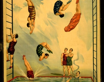 rare vintage poster-performing circus poster - art print 19 th century graphics