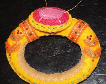 Twelve Days of Christmas Golden Ring Felt Ornament
