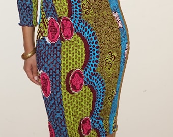 African print off the shoulder stretch bodycon midi dress