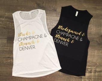 Bride Bachelorette Champagne Lipstick City Muscle Shirt Bride Tshirt Bachelorette Shirts Flowy Muscle Tee Married Wedding Bridal Shower Cute