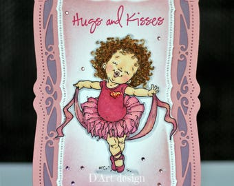 Hugs and kisses Hand Stamped Hand Colored Greeting Card in Pink. Birthday card. Paper crafted. Just because. Girly and sweet. Occasions Card