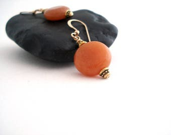 Orange Aventurine Earrings, Orange  Earrings, Gemstone Dangle Earrings, Everyday Drop Earrings, Boucles D'oreilles, Gift Idea for Mom