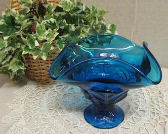 Vintage 1980's Viking Glass Blue 4 Leaf Glass Compote