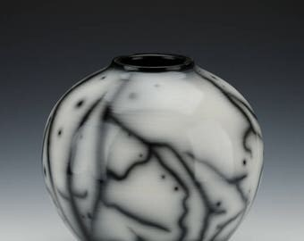 Round Naked Raku Vase - Wheel Thrown Burnished with Terra Sigilatta Smoke Fired Ceramic Vessel