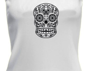 Ladies Black Sugar Skull Mexican Day of the Dead Design on a white vest top. Goth, sugarskull, candy skull, retro, boho, tattoo