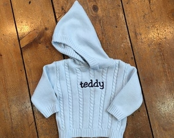 Personalized Name Sweater / Hooded Baby Sweater with Zipper in Back / Monogrammed Sweater / Embroidered Sweater / Infant Sweater