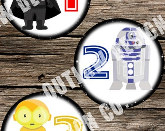 Star Wars Printable Monthly Milestone Markers Labels Instant Download DIY Age Stickers Boy Girl Baby Disney Bonus Extra Geek Nerd