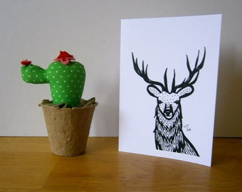 Mr. Stag. Greeting card, blank card.