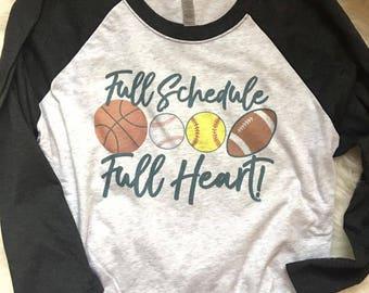 Sports Mom / baseball basketball fottball softball MOM raglan / full heart