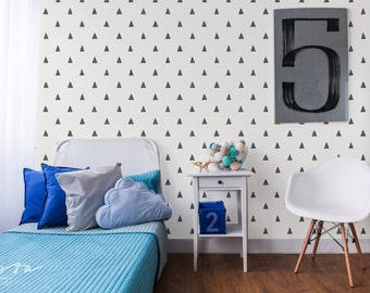 20% OFF Designer removable wallpaper on sale black and white casual triangle self adhesive peelable DIY for baby room custom colors CC007