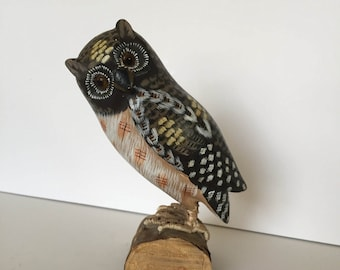 Vintage Hand Painted Owl on Branch Figurine / Statue