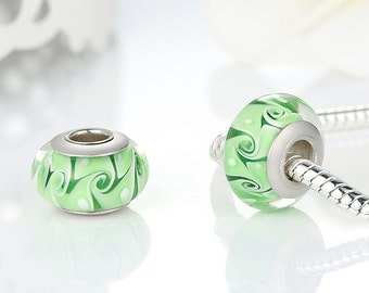 Sterling silver and murano Glass Green swirl charm beads perfect for pandora and troll or european bracelets