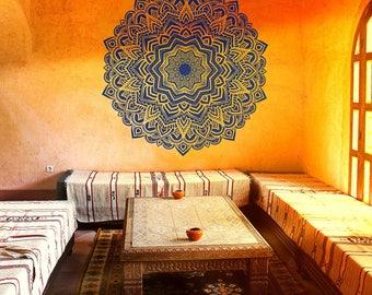 Bohemian indian pattern Mandala wall decals Floral vinyl stickers Yoga art ornament Design interior mural removable Bedroom home decor #027