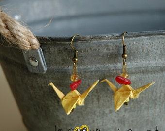 (Crane) - G001 origami earrings